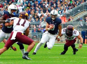 Penn State QB Trace McSorley runs against the Minnesota Golden Gophers