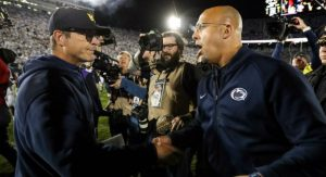 Penn State Head Coach James Franklin and Michigan Head Coach Jim Harbaugh after Penn State defeated Michigan 28-21 at Beaver Stadium