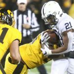 Penn State RB Noah Cain rushes for a touchdown against the Iowa State Hawkeyes