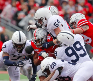 Penn State's Defense Led by DE Yetur Gross-Matos tackles Ohio State RB JK Dobbins