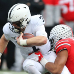 Penn State QB Will Levis carries the ball against Ohio State