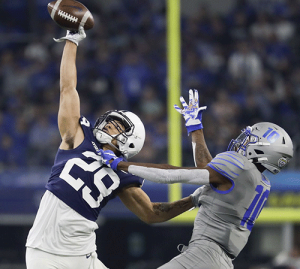 Penn State Cornerback John Reid defends a pass against Memphis Tigers receiver Damonte Coxie in the 2019 Cotton Bowl